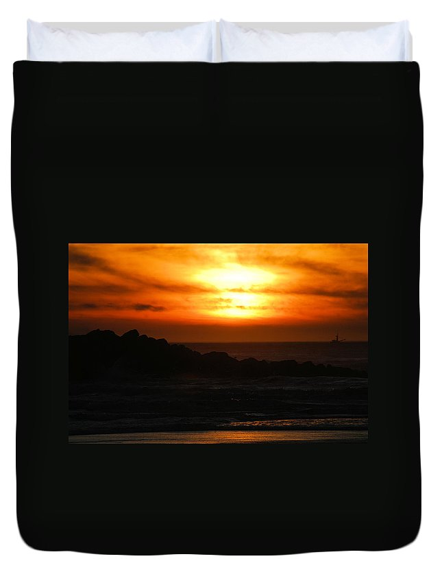 Sunset Duvet Cover featuring the photograph Fishing Vessel at Sunset by Michael Merry