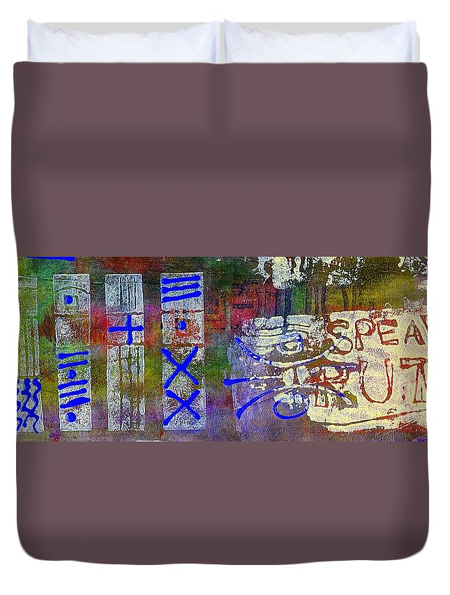 Spiritual Duvet Cover featuring the painting Five Views... Same Truth by Angela L Walker