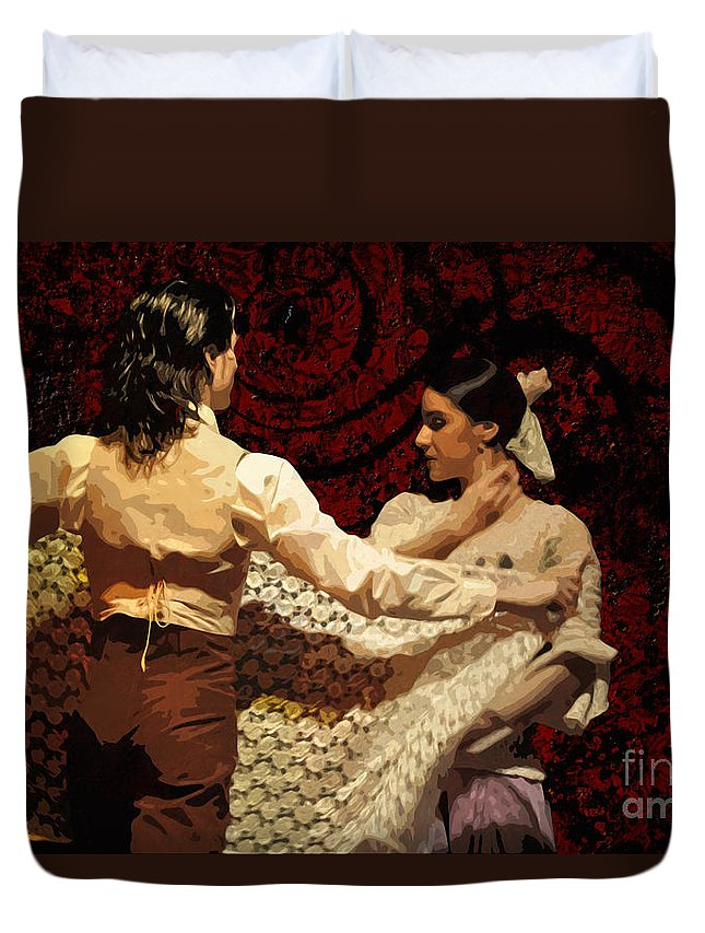 Flamenco Duvet Cover featuring the photograph Flamenco Series No 3 by Mary Machare