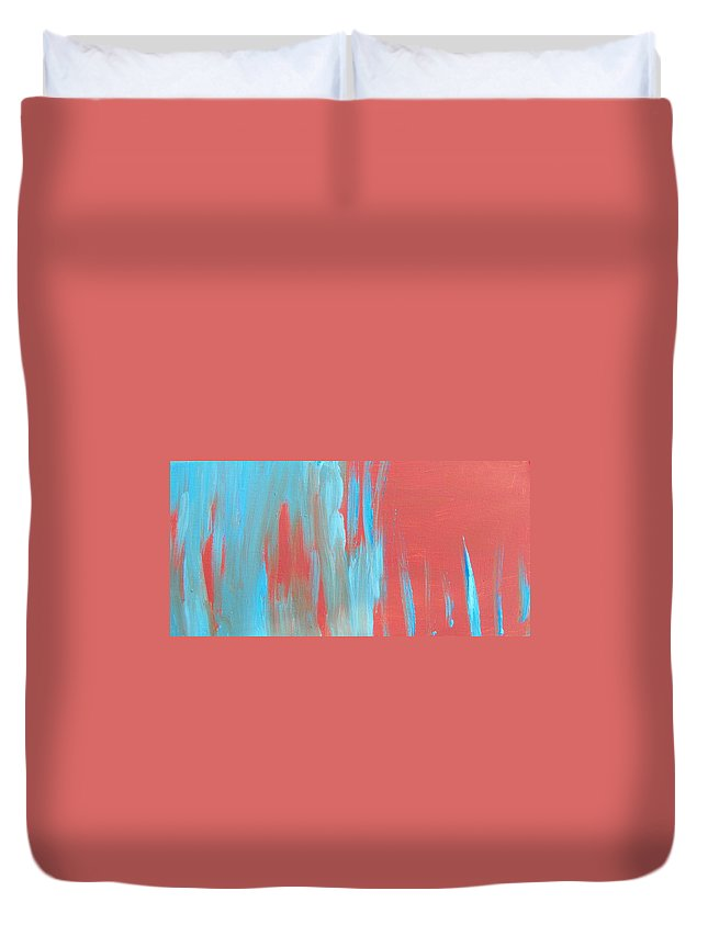 Abstract Duvet Cover featuring the painting Flames Of Ice by Lenore Senior