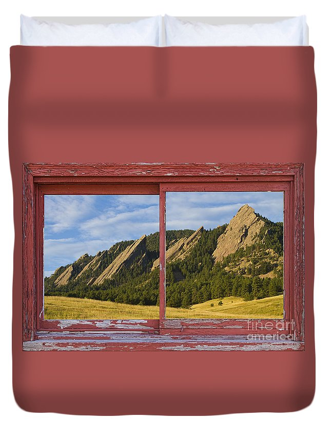 Picture Duvet Cover featuring the photograph Flatirons Boulder Colorado Red Barn Picture Window Frame Photos by James BO Insogna