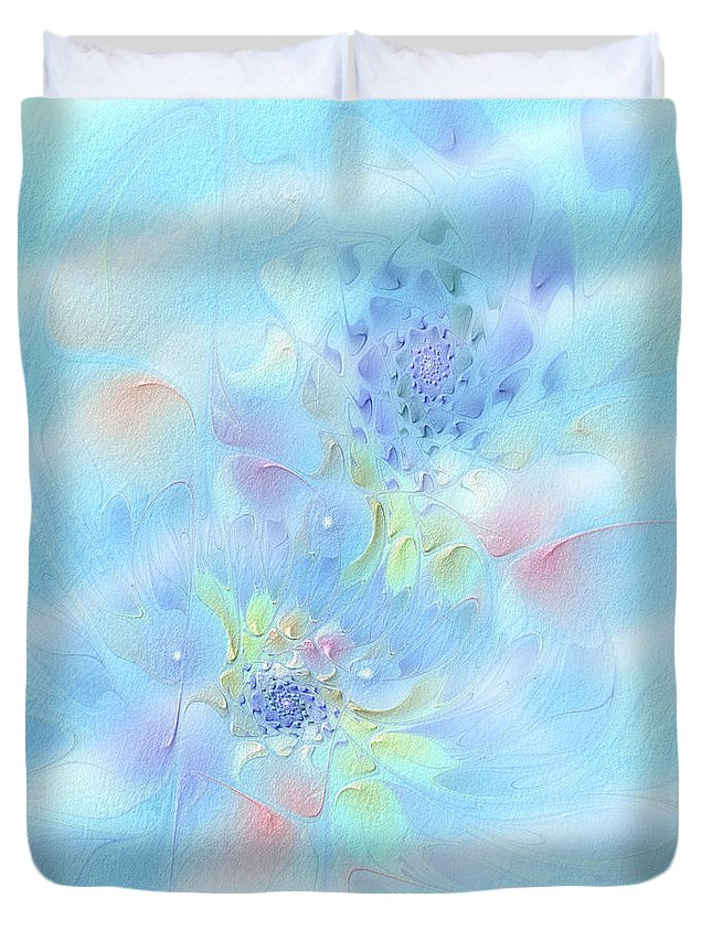Abstract Duvet Cover featuring the digital art Fleur De Fantasm by Casey Kotas