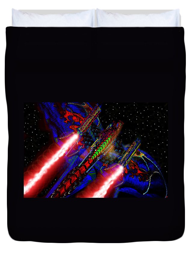 Art Duvet Cover featuring the painting Flight Of The Firey Dragon by David Lee Thompson