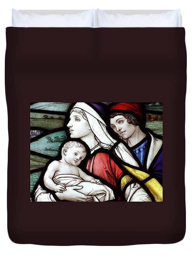 Stained Duvet Cover featuring the photograph Flight To Egypt Stained Glass by Munir Alawi