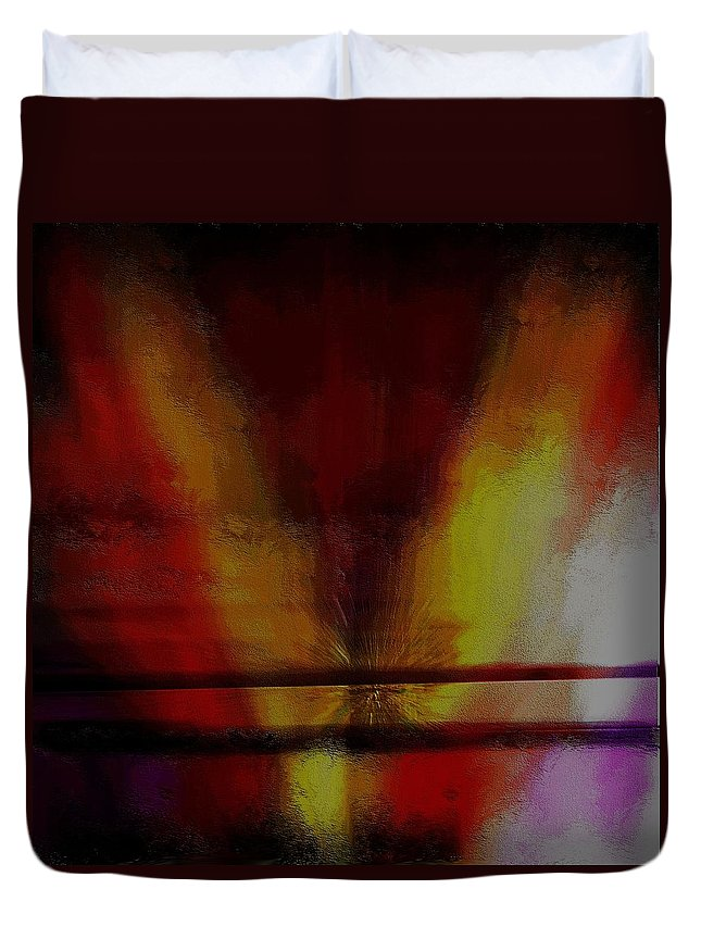 Abstract Expressionism Duvet Cover featuring the mixed media Floating Brush by Terence Morrissey