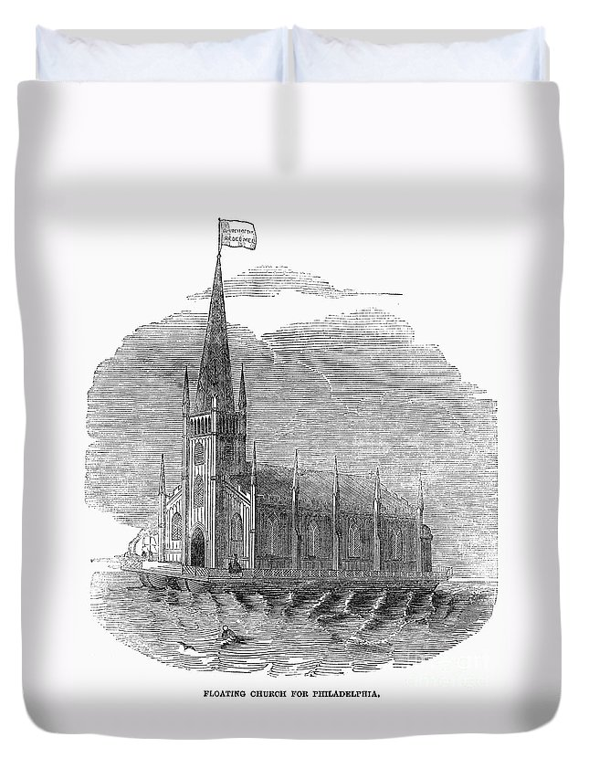 1849 Duvet Cover featuring the photograph Floating Church, 1849 by Granger