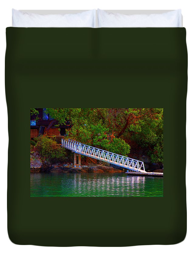 Island Prints Duvet Cover featuring the photograph Floating Dock by Marie Jamieson