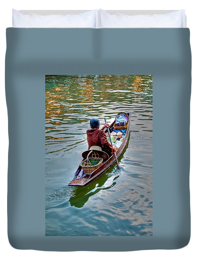 Amphawa Duvet Cover featuring the photograph Floating Market by Adrian Evans