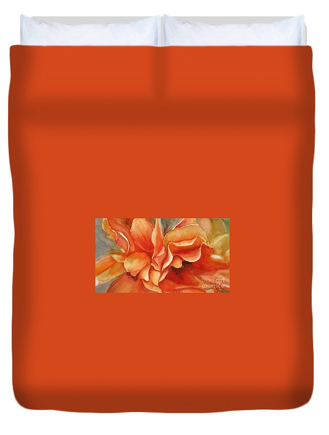 Orange Duvet Cover featuring the painting Floral Flash by Mohamed Hirji