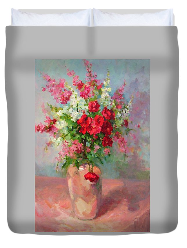 Flowers Duvet Cover featuring the painting Floral In Pink by Patricia Kness
