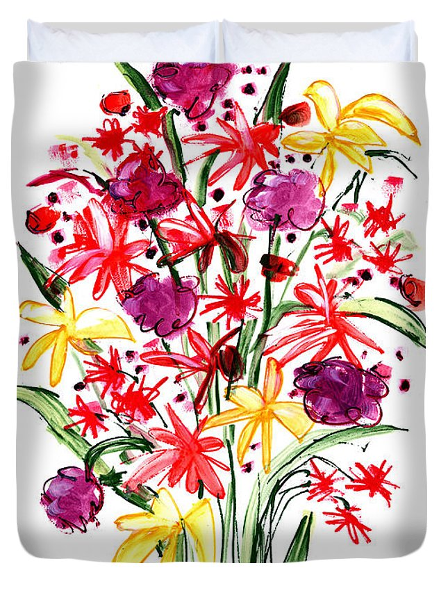 Flower Duvet Cover featuring the painting Floral Three by Lynne Taetzsch