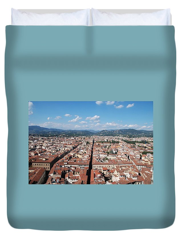 Florence Duvet Cover featuring the photograph Florence From The Duomo by Dany Lison