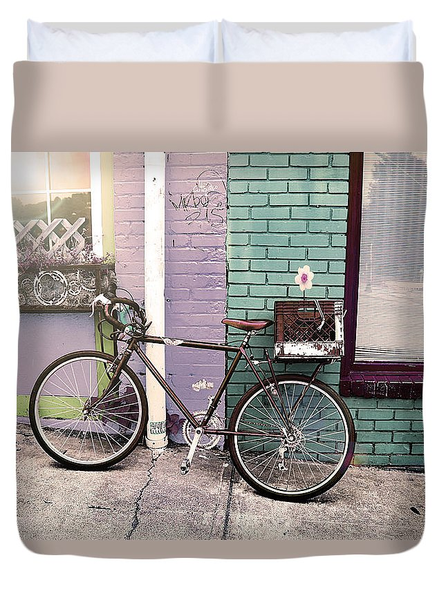 Street Photography Duvet Cover featuring the photograph Flower For Later Urban Art by Gray Artus