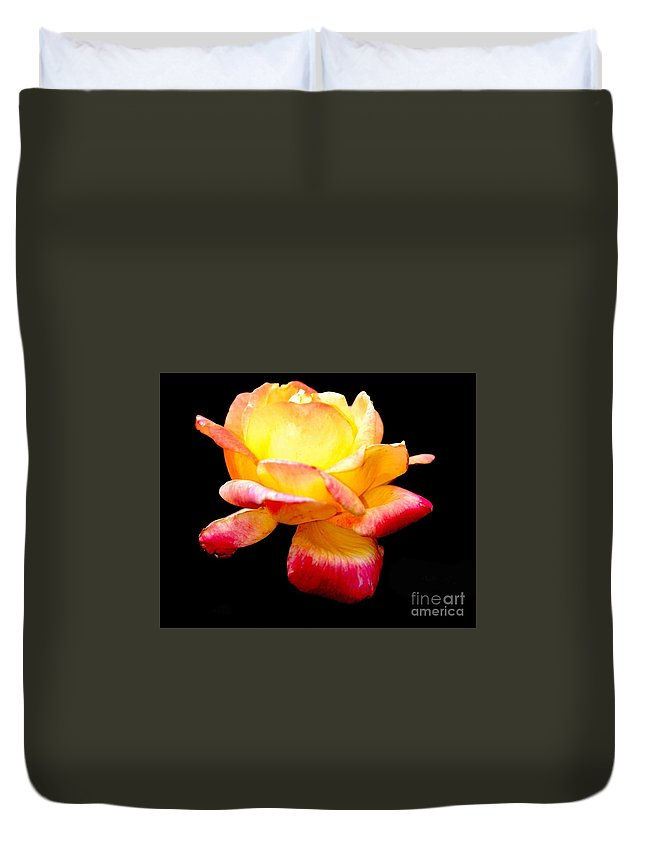 Yellow Flower Duvet Cover featuring the photograph Flower Glow by Optical Playground By MP Ray