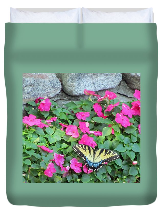 Butterfly Duvet Cover featuring the photograph Butterfly And Flowers by Sandra Reeves