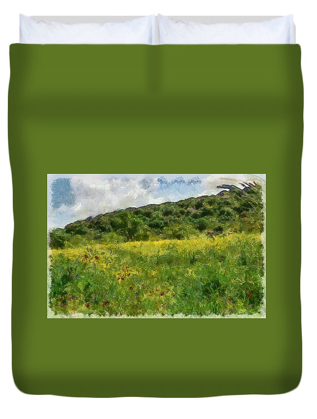 Meadow Duvet Cover featuring the photograph Flowering Fields by Michael Goyberg