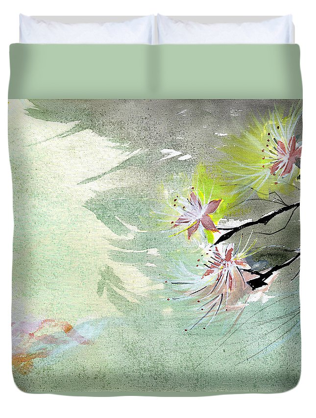 Floral Duvet Cover featuring the painting Flowers 3 by Anil Nene