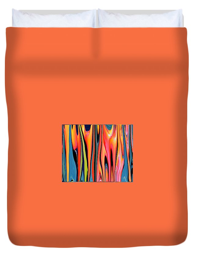 Turquoise Duvet Cover featuring the painting Flowing by Renate Nadi Wesley