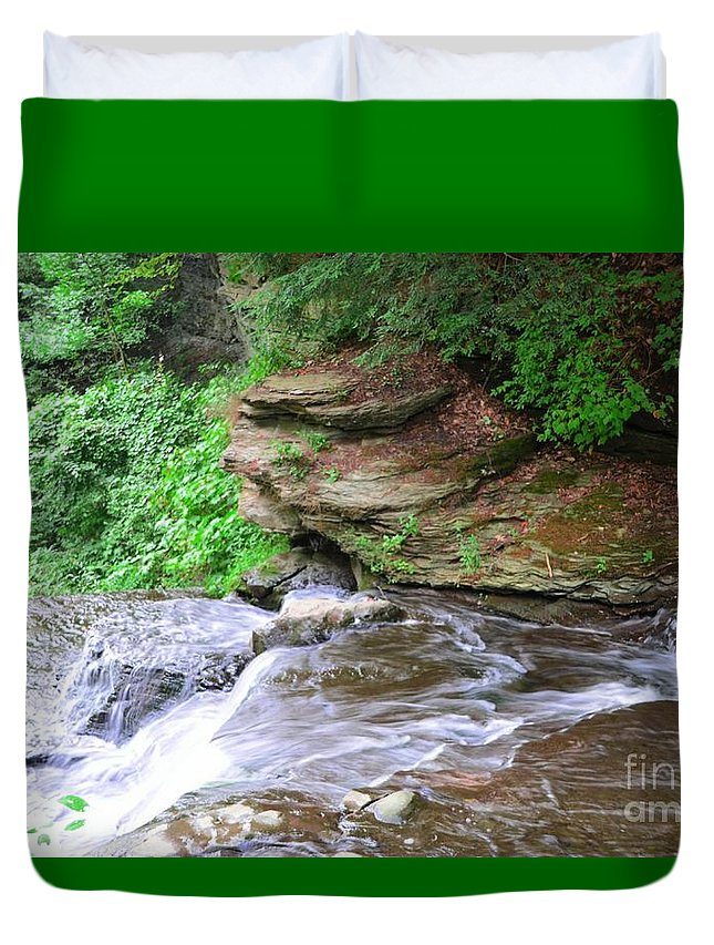 Letchworth Duvet Cover featuring the photograph Flowing Water by Kathleen Struckle