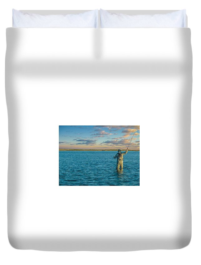 Fly Fishing Duvet Cover featuring the photograph Fly Fishing by Josh Scanlon