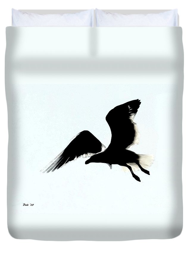 Seabirds Duvet Cover featuring the digital art Flying High by Dale  Ford