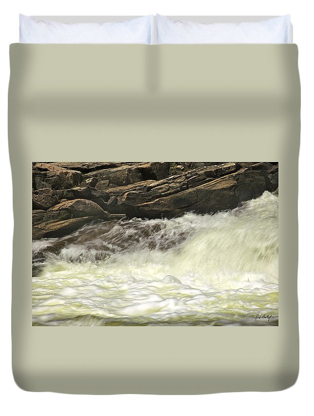 Canada Duvet Cover featuring the photograph Foamy Cascade by Phill Doherty