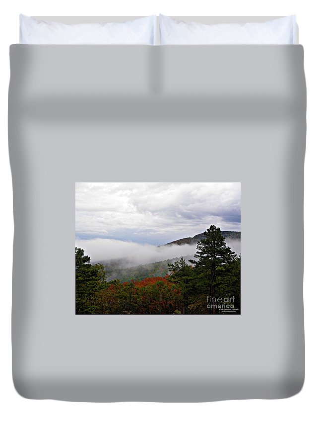 Fog Duvet Cover featuring the photograph Fog And Foliage by Tisha Clinkenbeard