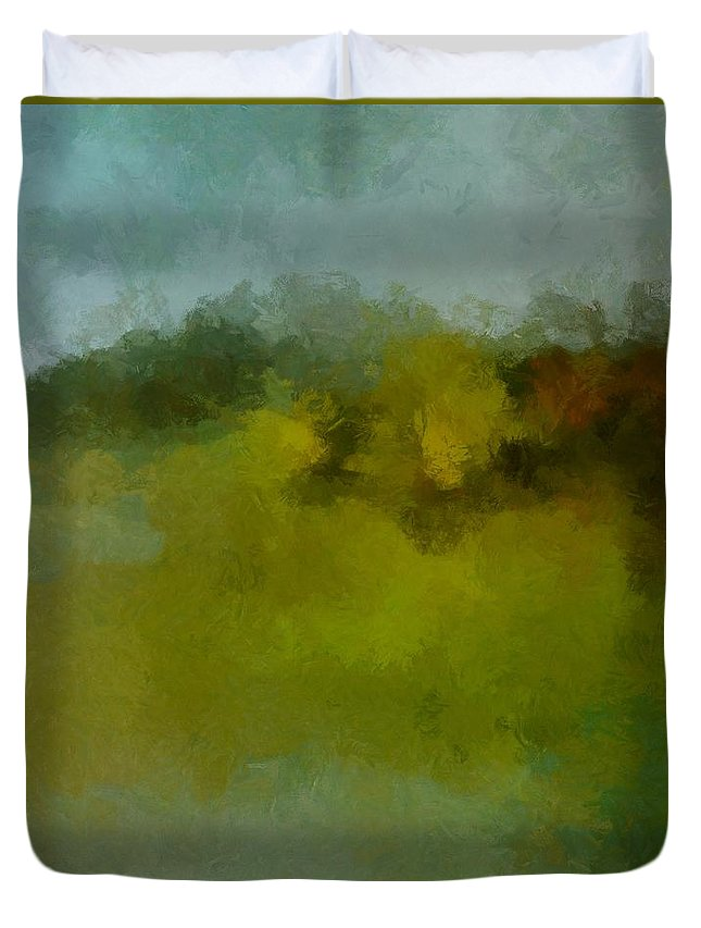 Foggy Day Duvet Cover featuring the painting Foggy Day by Dragica Micki Fortuna