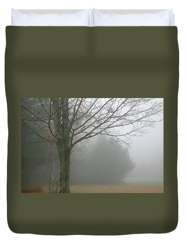 Fog Duvet Cover featuring the photograph Foggy Fall by Burney Lieberman