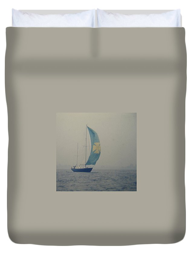 Sailboat Duvet Cover featuring the digital art Foggy Genoa by Lin Grosvenor