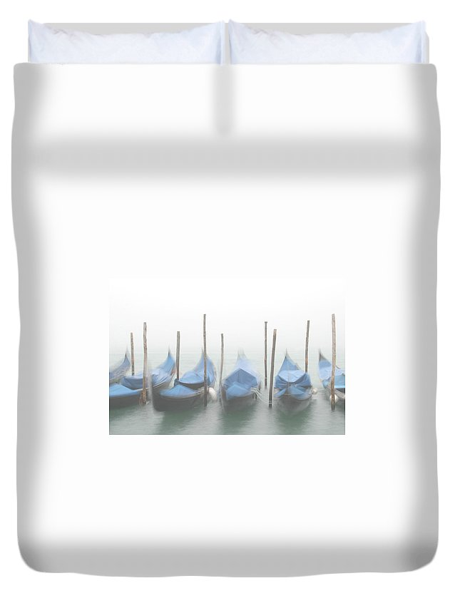 Venice Duvet Cover featuring the photograph Foggy Morning Grand Canal by Tom and Pat Cory