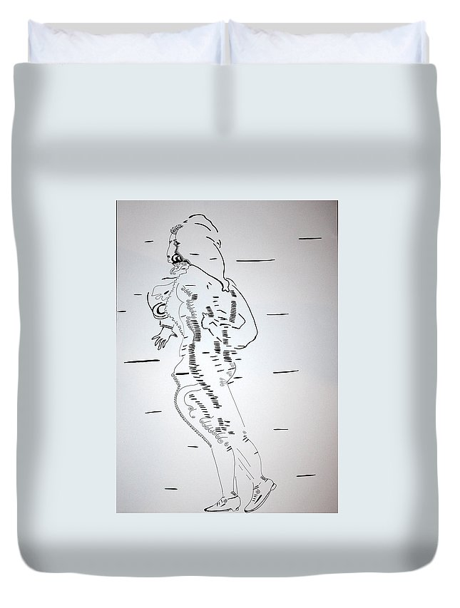Jesus Duvet Cover featuring the drawing Folk Dance - Denmark by Gloria Ssali