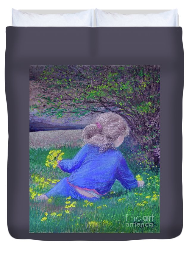 Pastel Art Duvet Cover featuring the painting Follow Your Heart by Penny Neimiller