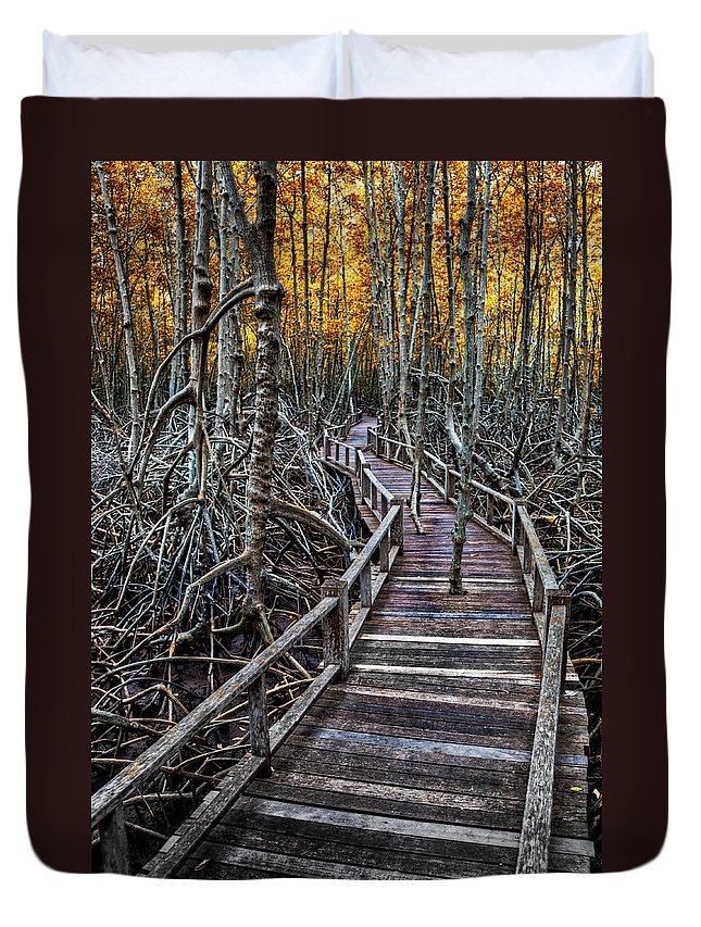 Mangrove Forest Duvet Cover featuring the photograph Footpath In Mangrove Forest by Adrian Evans