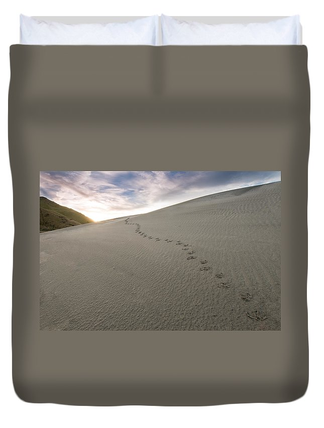 Adventure Duvet Cover featuring the photograph Footprints In Sand by U Schade