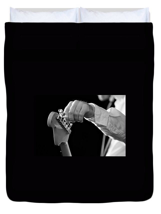 Black And White Duvet Cover featuring the photograph For Better Sound by Valerie Rosen