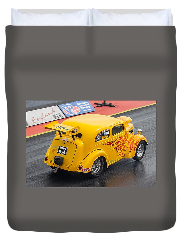 Ford Duvet Cover featuring the photograph Ford Popular Drag Racer by Ken Brannen