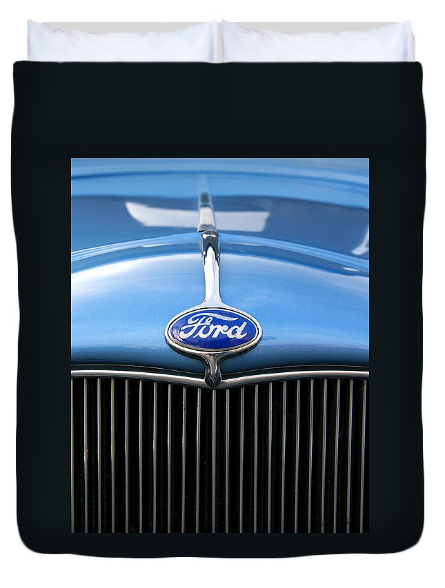 Ford Duvet Cover featuring the photograph Ford Truck Emblem by Glenn Gordon