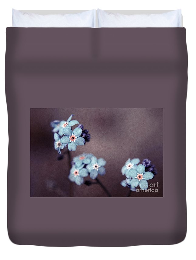 Brown Duvet Cover featuring the photograph Forget Me Not 01 - S05dt01 by Variance Collections
