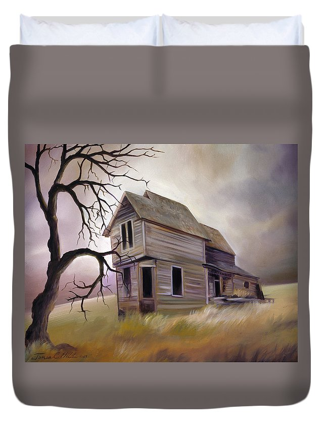 Haunted Duvet Cover featuring the painting Forgotten But Not Gone by James Christopher Hill