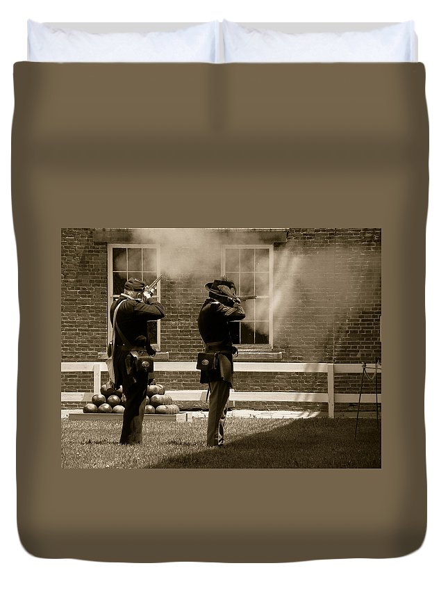 Soldiers Duvet Cover featuring the photograph Fort Delaware Soldiers by Trish Tritz