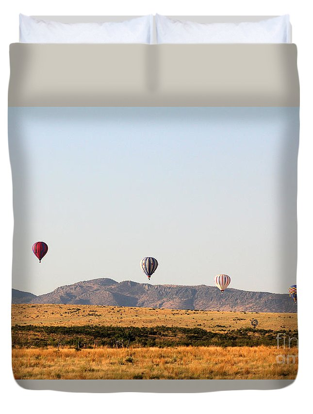 Balloon Duvet Cover featuring the photograph Four In A Row by Alycia Christine