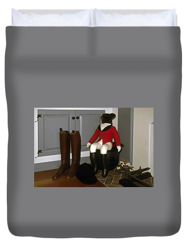 Riding Boots Duvet Cover featuring the photograph Fox Hunt Decorations by Sally Weigand