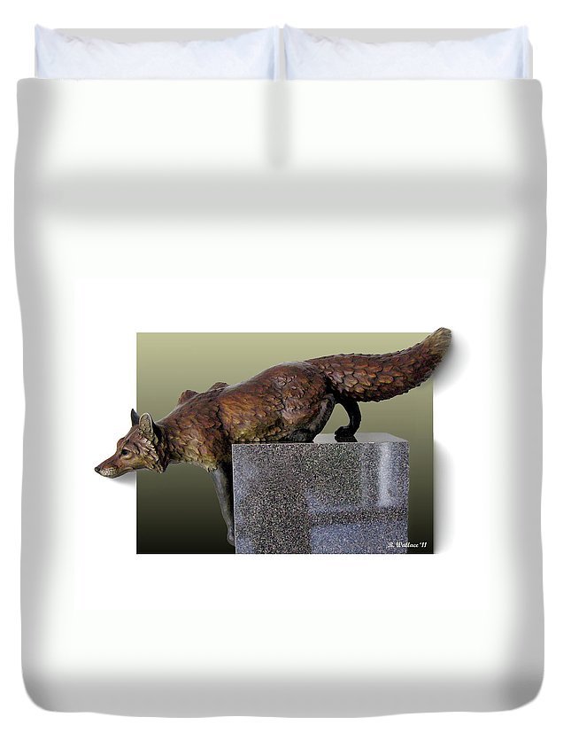 2d Duvet Cover featuring the photograph Fox On A Pedestal by Brian Wallace