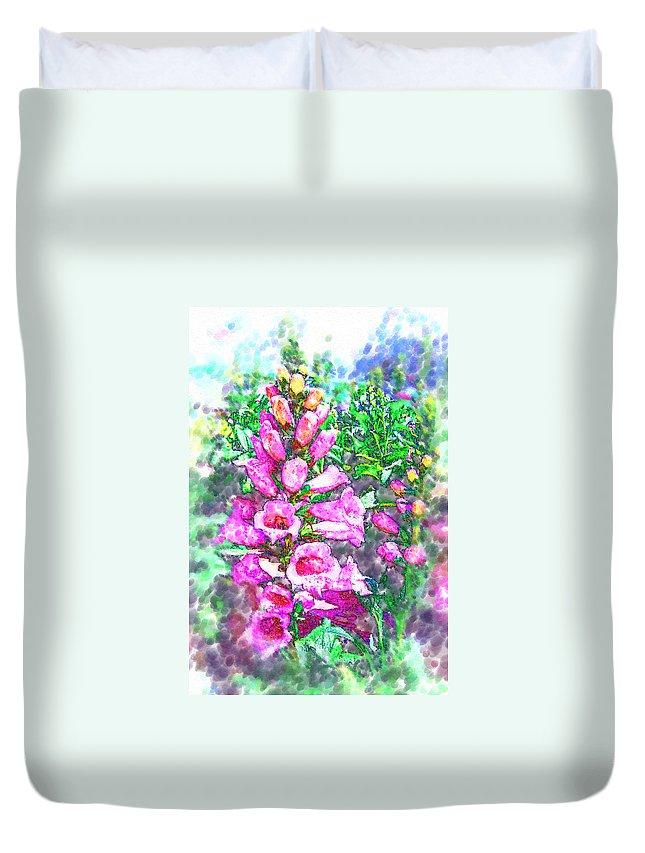 Foxglove Duvet Cover featuring the photograph Foxglove Floral by Kathy Clark