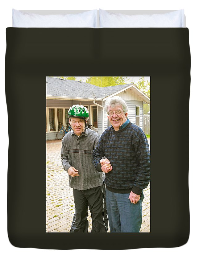 Fr. James (jim) Boyle Was A Catholic Priest Of The Archdiocese Of Seattle For 50 Years. Duvet Cover featuring the photograph Fr James Boyle by Mike Penney