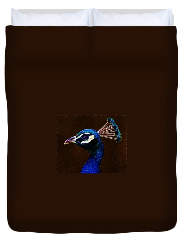 Peacock Duvet Cover featuring the photograph Fractalius Peacock by Chris Thaxter