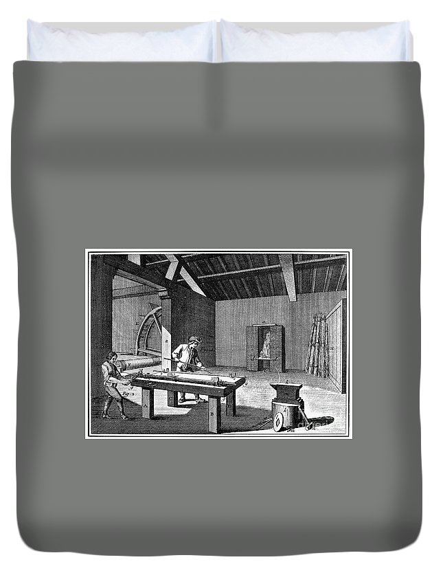 1750 Duvet Cover featuring the photograph France: Iron Mill, C1750 by Granger