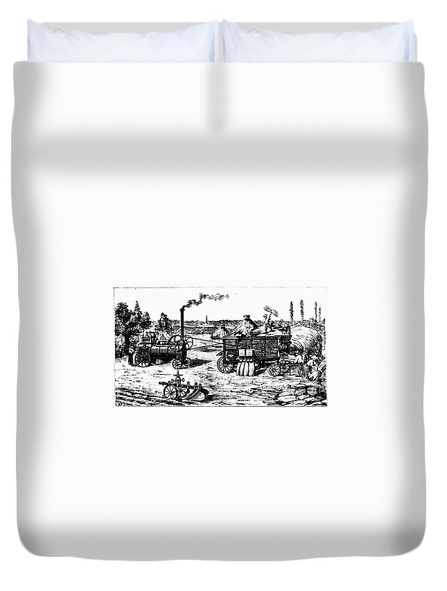 19th Century Duvet Cover featuring the photograph France: Steam Threshing by Granger