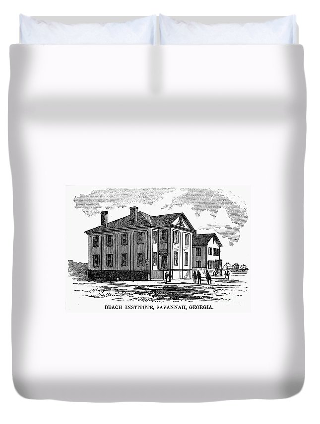 1868 Duvet Cover featuring the photograph Freedmen School, 1868 by Granger